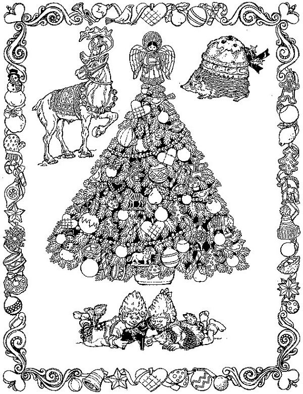 christmas coloring pages difficult | Christmas tree ...