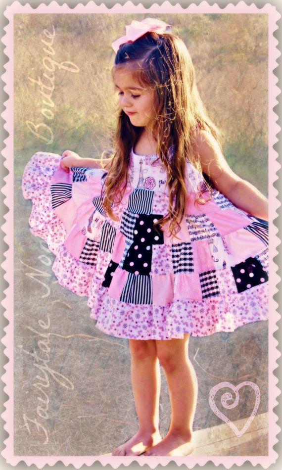 Paris Dreams Patchwork Twirl Dress Shiny Happy People