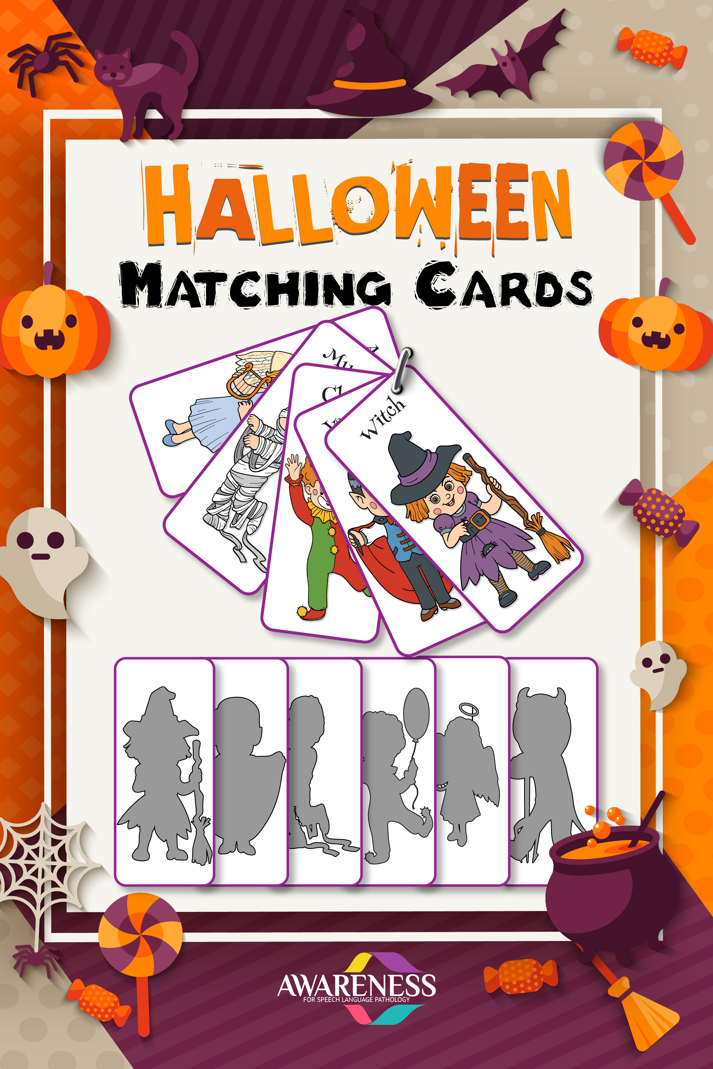 Halloween Shadow Matching Cards And Worksheets