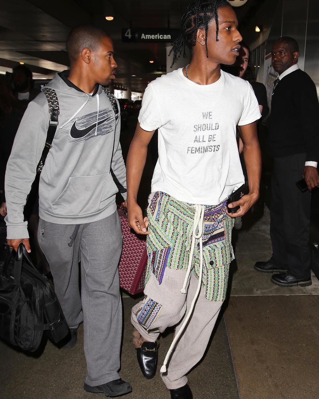 58ff09acc8a ASAP Rocky Arrives at LAX Wearing Dior T-Shirt