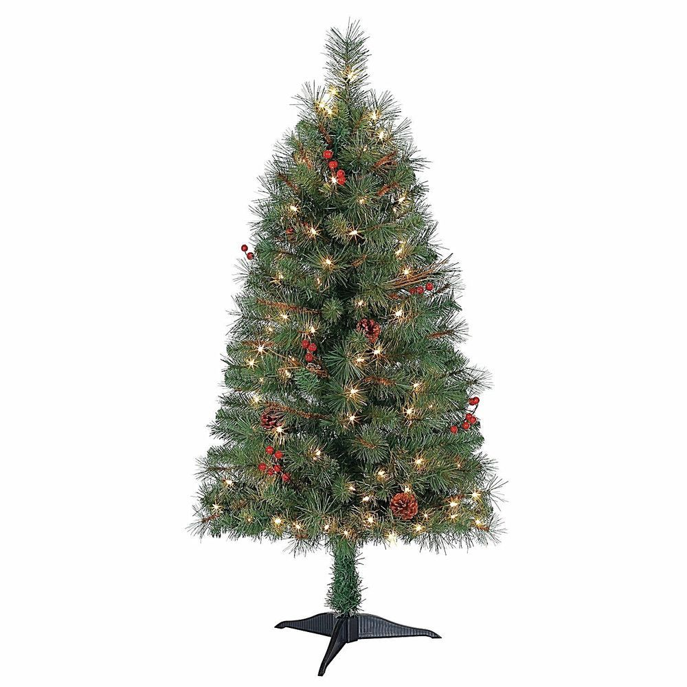 4\' Holiday Time Lighted Artificial Christmas Tree Green Pine Indoor ...
