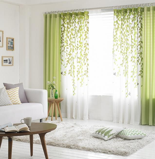 Curtains In Living Room Images Interior Design Color Schemes For Rooms Lime Green And White Leaf Print Poly Cotton Blend Country