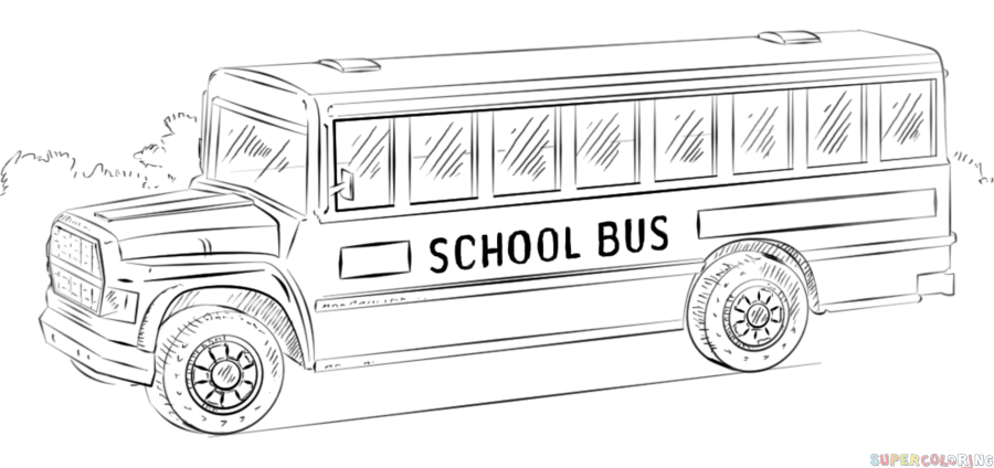 How to draw a school bus step by step. Drawing tutorials for kids ...