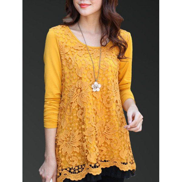 Charming Scoop Neck Lace Spliced Hollow Out Women's Blouse - GINGER L