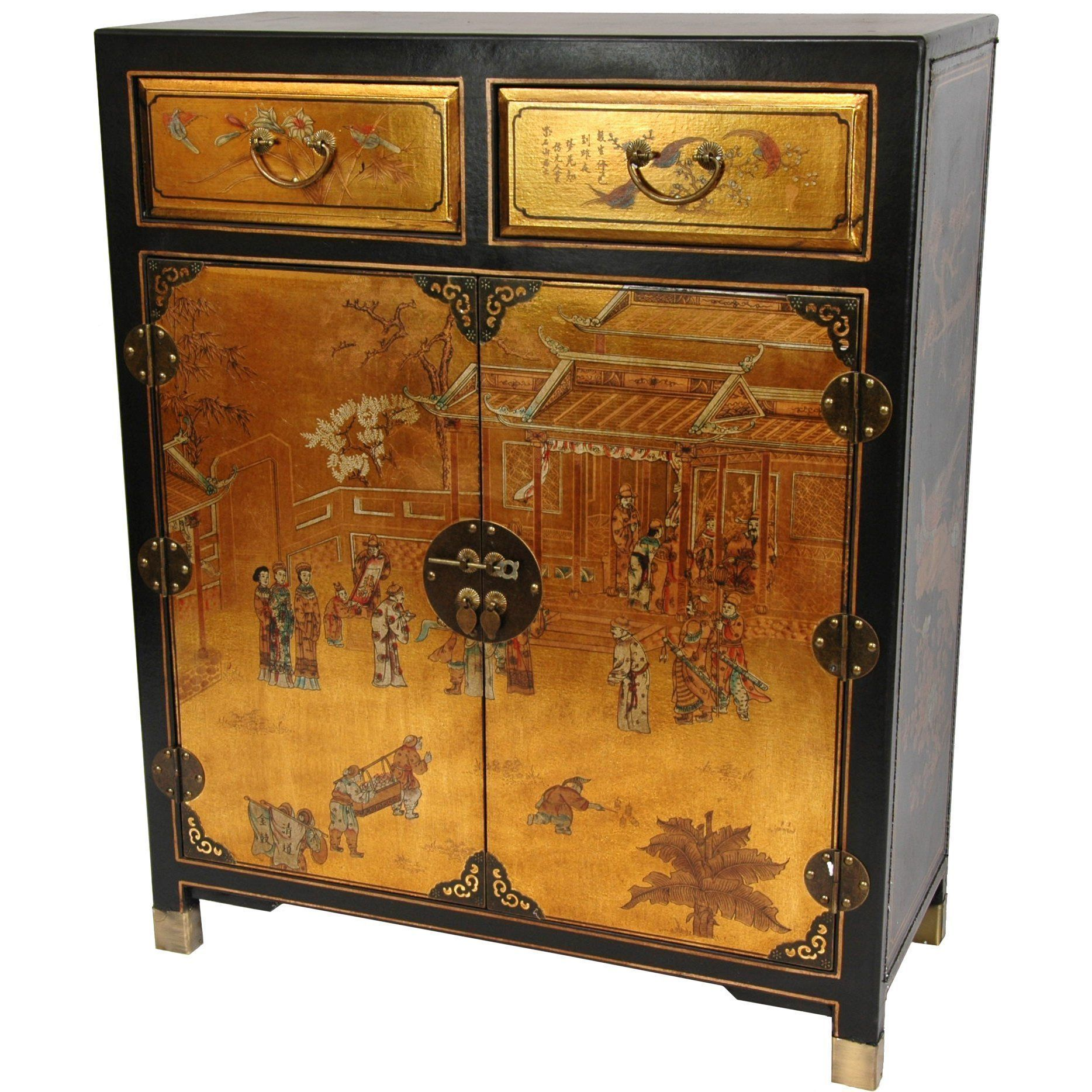 This luxuriant cabinet features a hand painted chinese for Oriental furniture