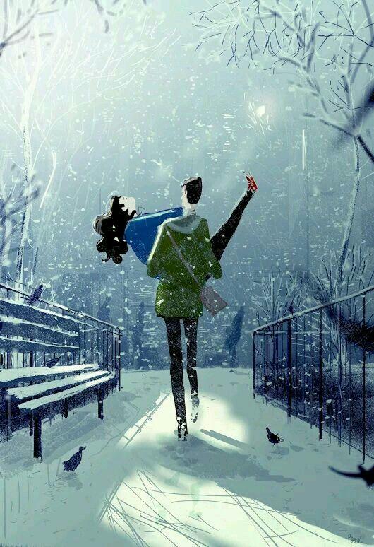 من أقوى برودة الشتاء أم دفئ الحب والرومانسية Snow Day Image Pascal Campion Art