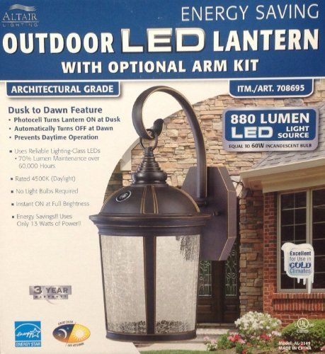 Outside At Dusk: Altair Lighting LED Outdoor Lantern With Optional Arm Kit