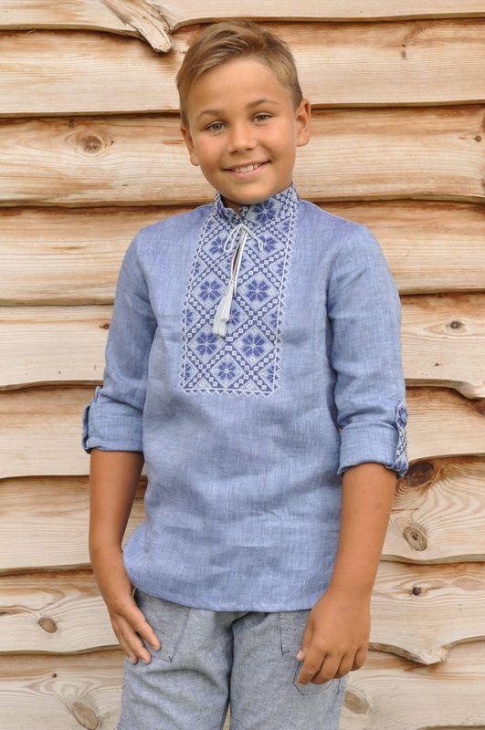 Вишиванка дитяча для хлопчика Модель DM 19 1-273 Вишита сорочка зі стійкою і 73fcf2f6d9835