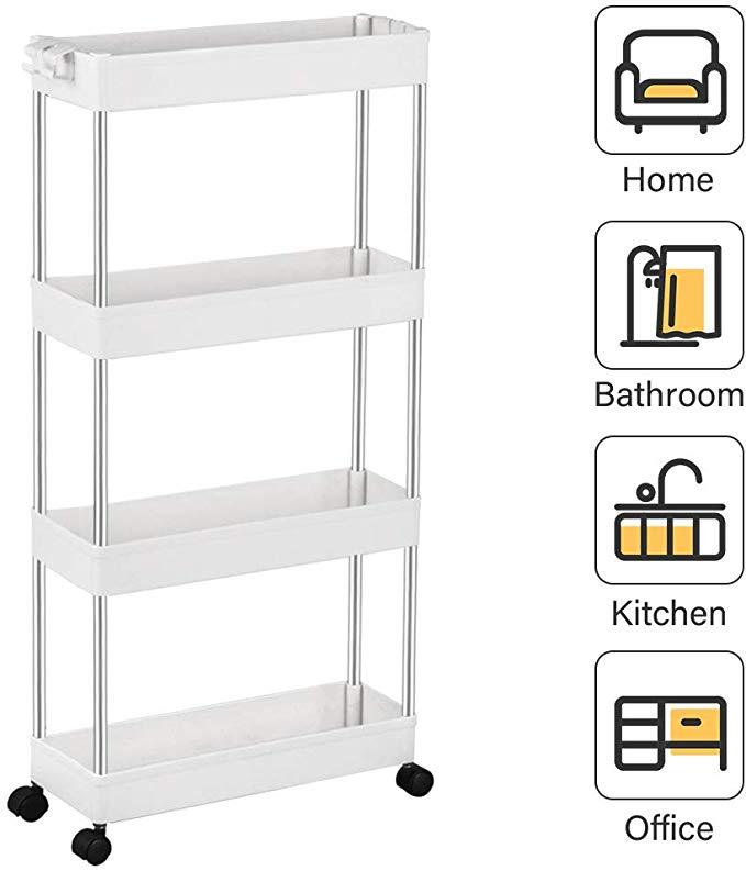 Amazon Com Spacekeeper 4 Tier Slim Storage Cart Mobile Shelving Unit Organizer Slide Out Storage Rolli In 2020 Mobile Shelving Kitchen Furniture Storage Shelving Unit
