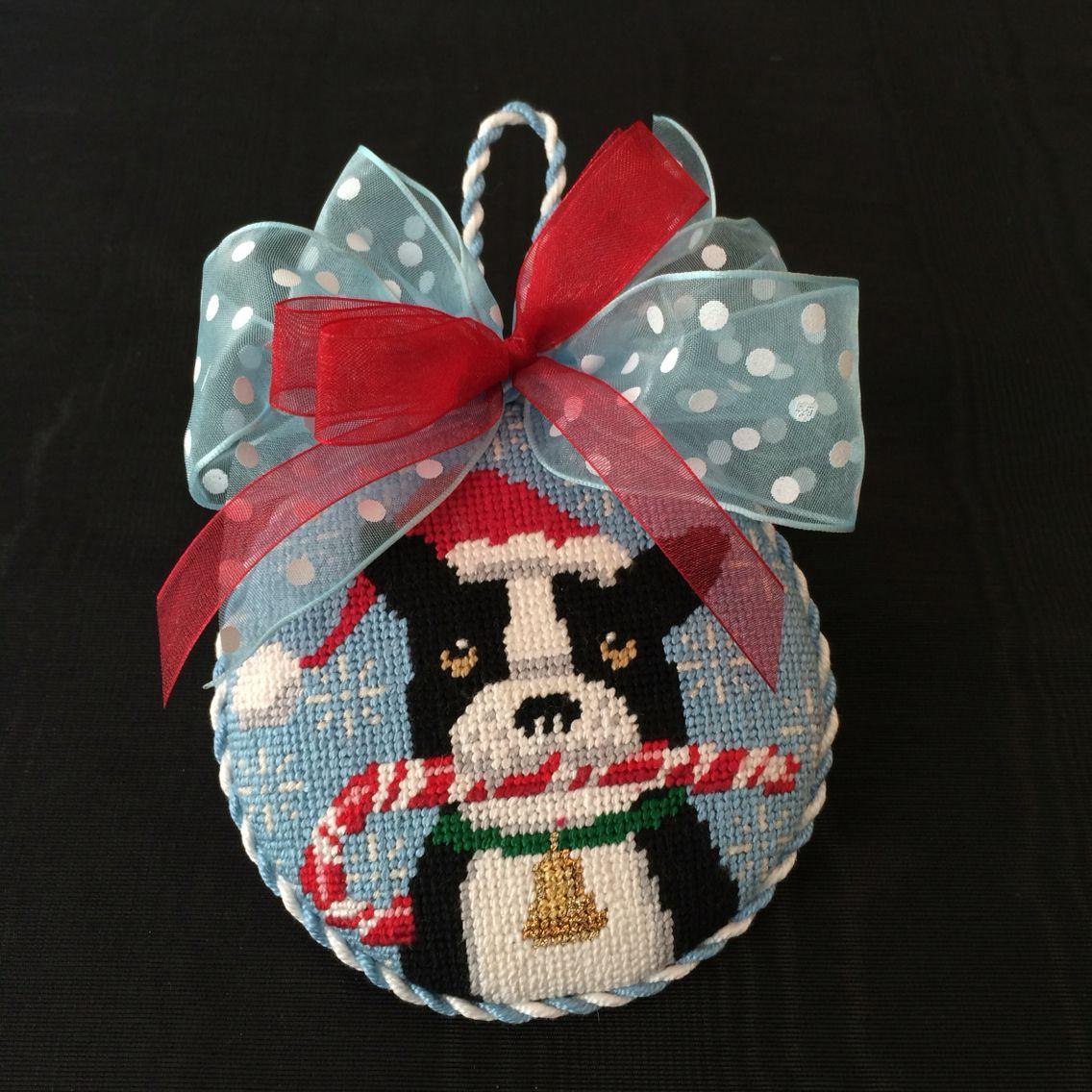 Finishing of christmas dog ornament christmas needlepoint