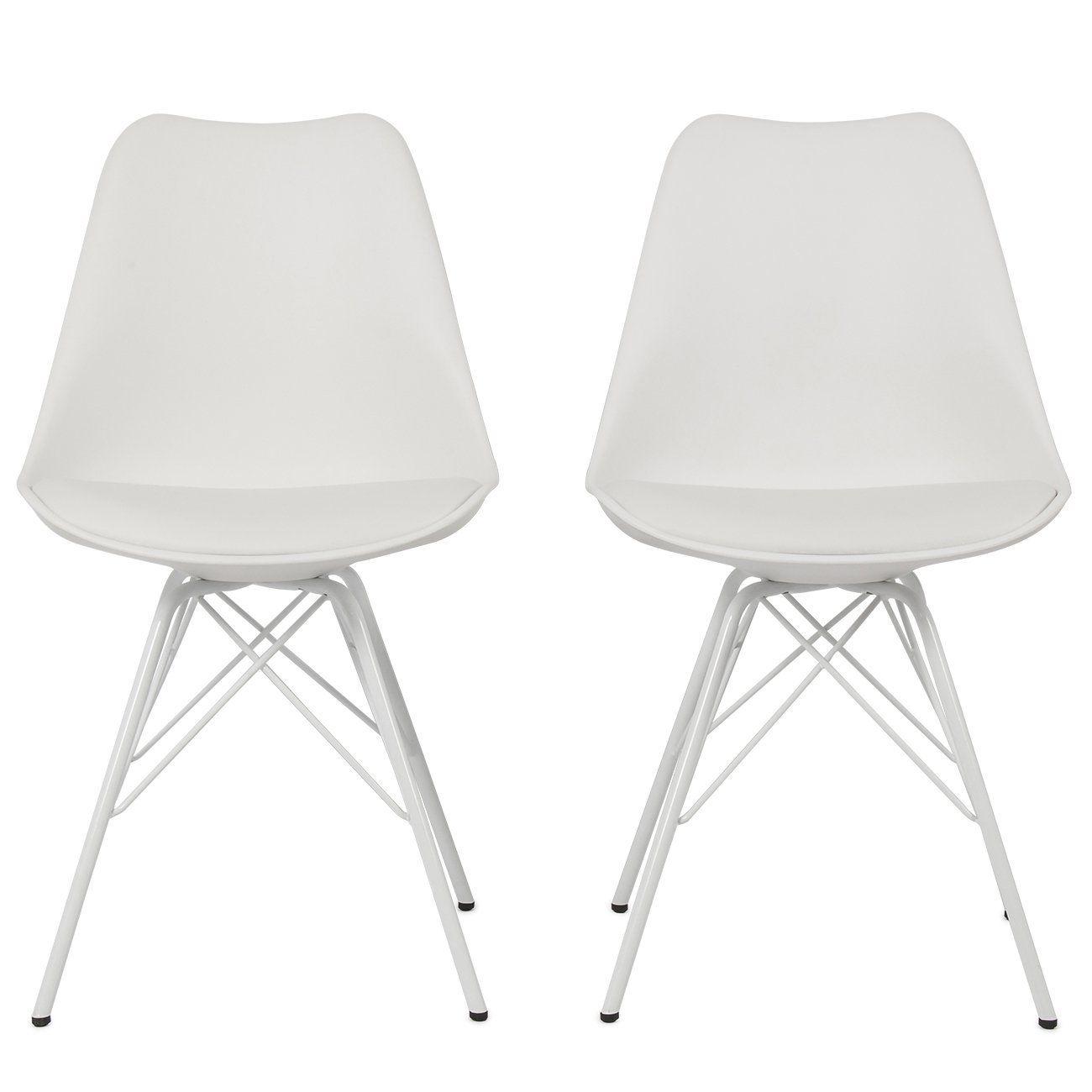 Amazon Com Belleze Premium White Eames Dsw Style Molded Plastic