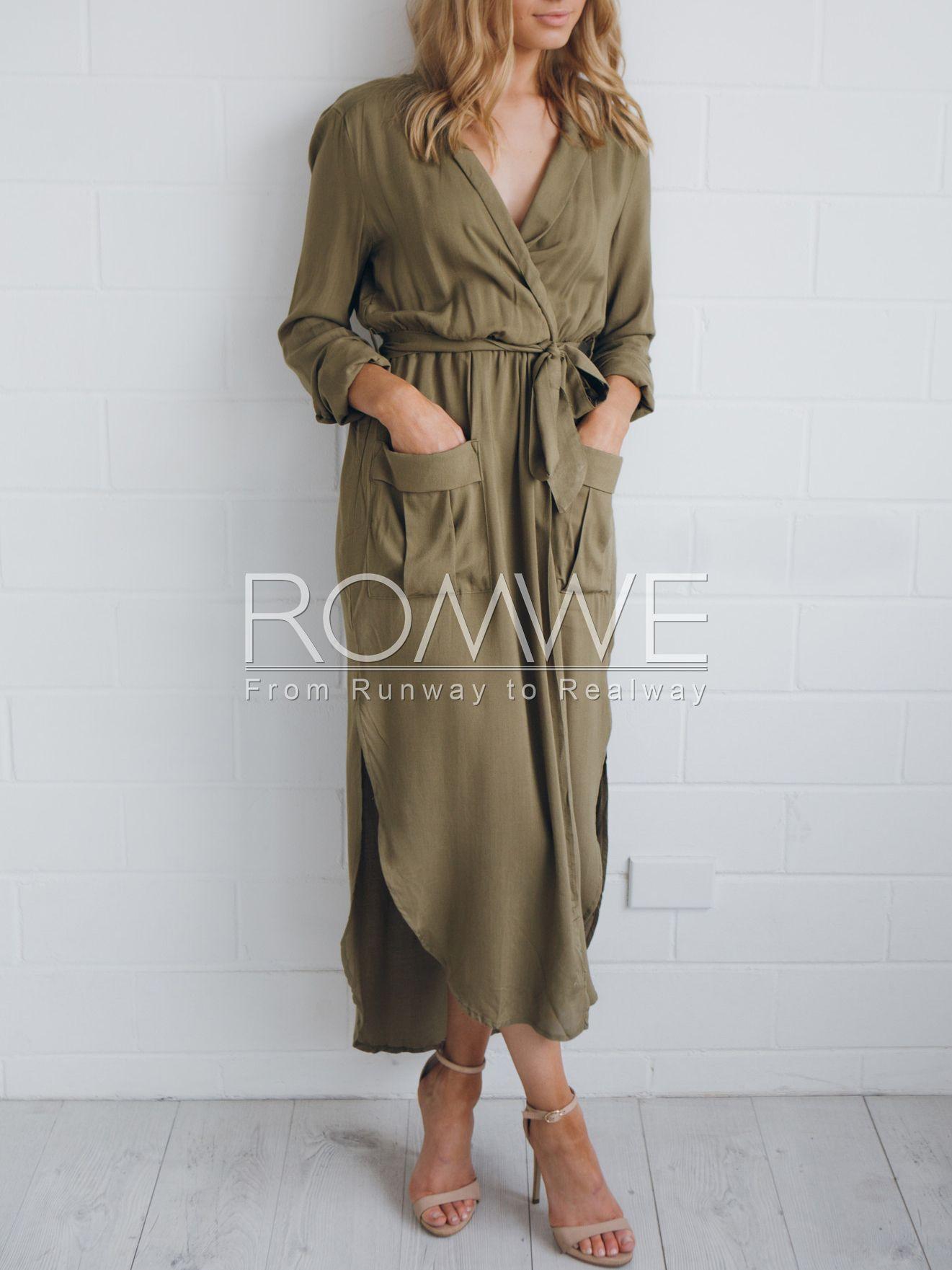 Army green long sleeve pockets split maxi dress fashionista