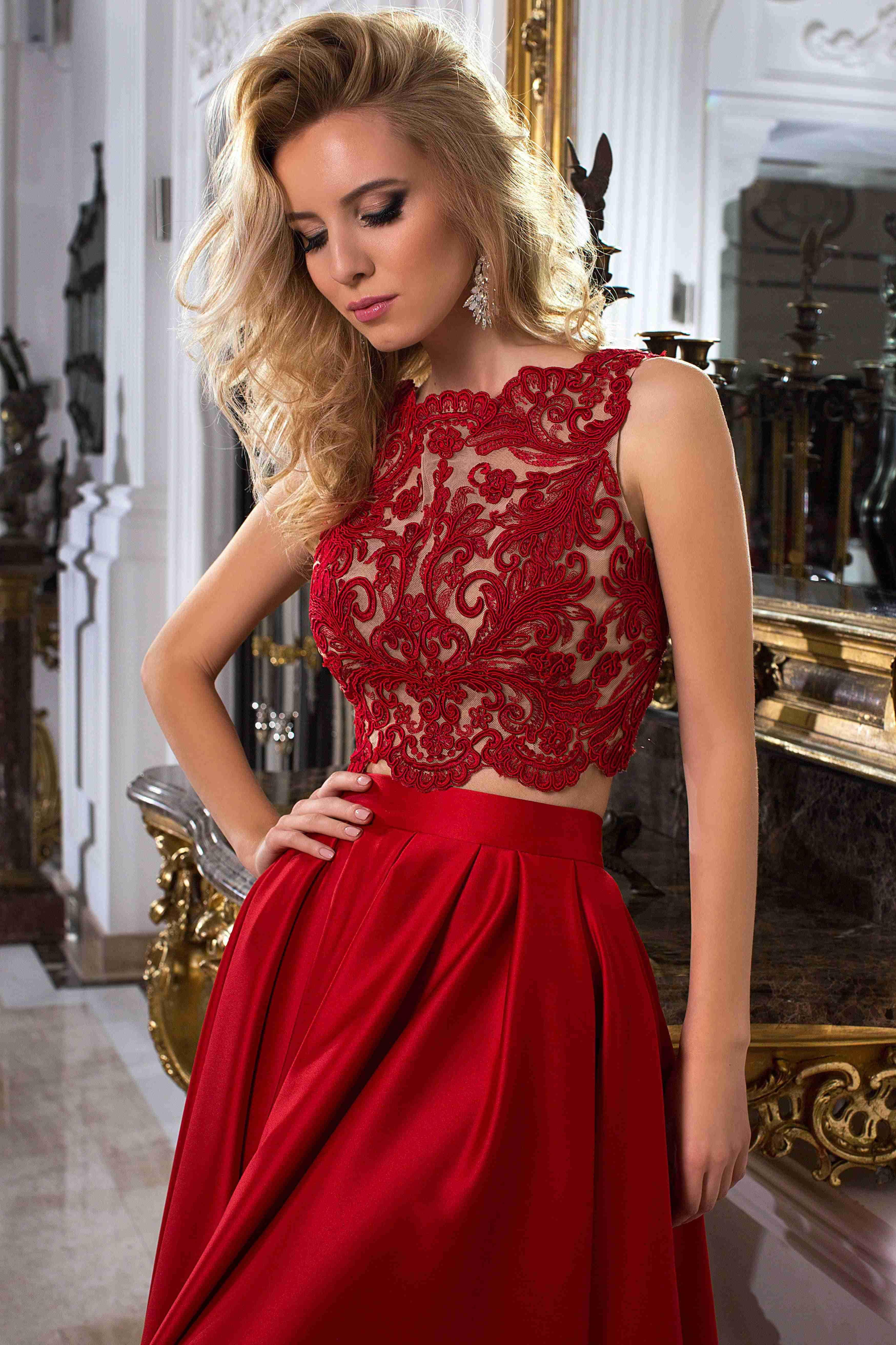Sleeveless jewel neck appliqued satin prom dress with illusion back