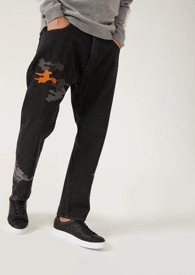 0b7c7e409f Emporio Armani J04 Loose-Fit Cotton Twill Denim Jeans With ...