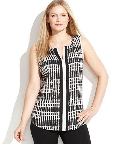 Calvin Klein Plus Size Sleeveless Split-Neck Printed Blouse, Black/White Combo, 1X Calvin Klein http://www.amazon.com/dp/B00XCJ8B34/ref=cm_sw_r_pi_dp_Ht2Awb1KVF95X