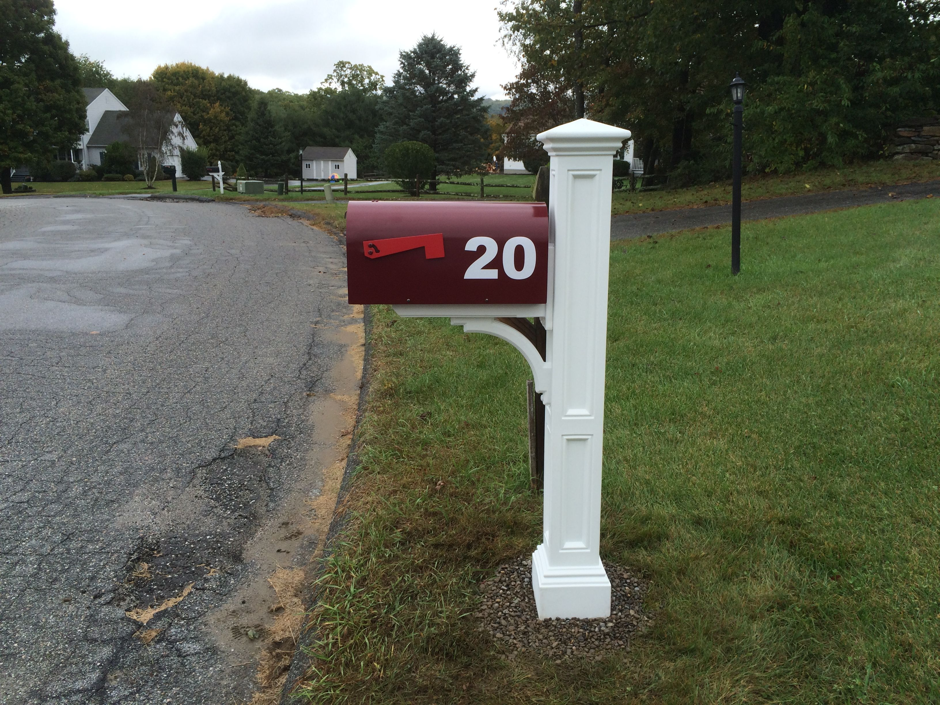 mounted overhang post pedestal products rain pin with mailbox balmoral