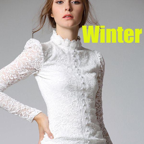 3b2ef3aba Cuello alto invierno mujer blusa de encaje blanco blusa camisa de manga  larga mujeres para mujer de la oficina atractiva de la blusa negro tapa  ocasional ...