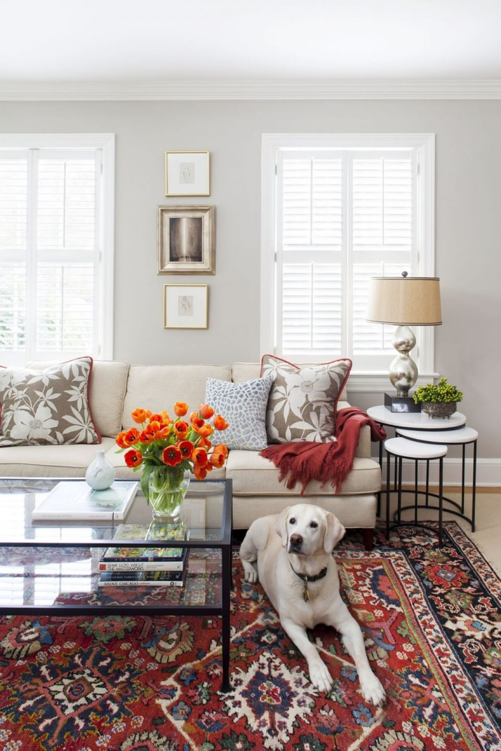 Living Room With Nesting End Table And Turkish Rug Decor