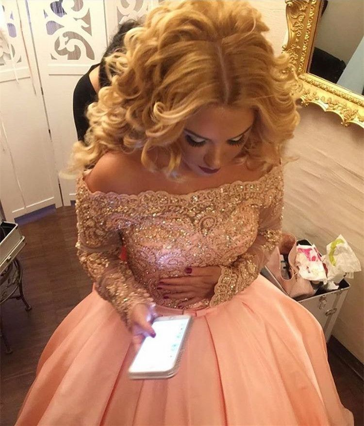 long sleeves ball gowns,lace sleeves prom dresses,elegant wedding