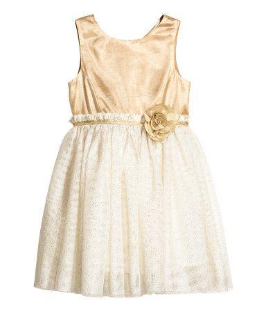 022656934be2d9 Glitterende tulen jurk | Gebroken wit/goudkleurig | Kinderen | H&M ...