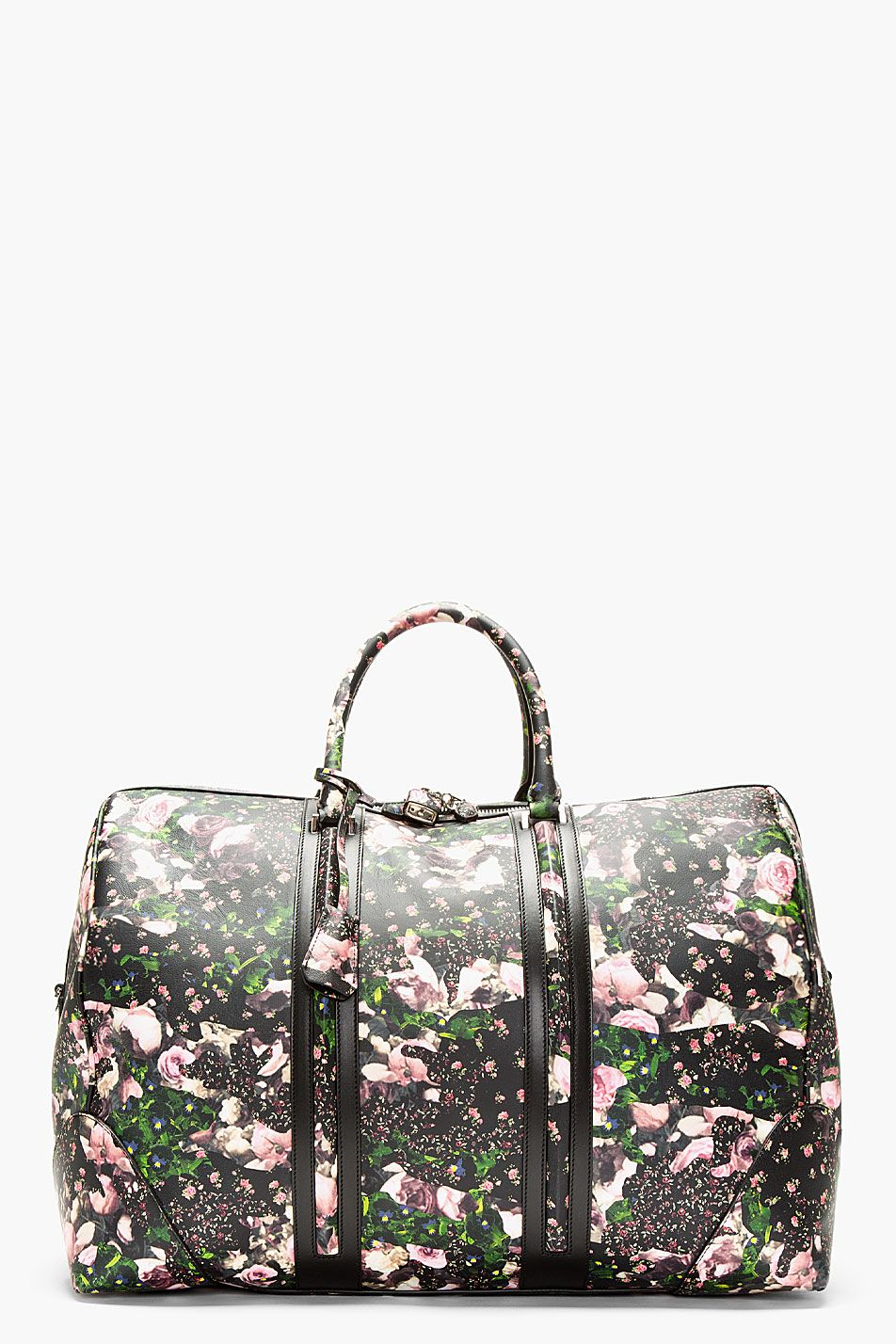 GIVENCHY Black leather floral padlocked LC duffle. Printed BagsDuffle ... a83851034a09f