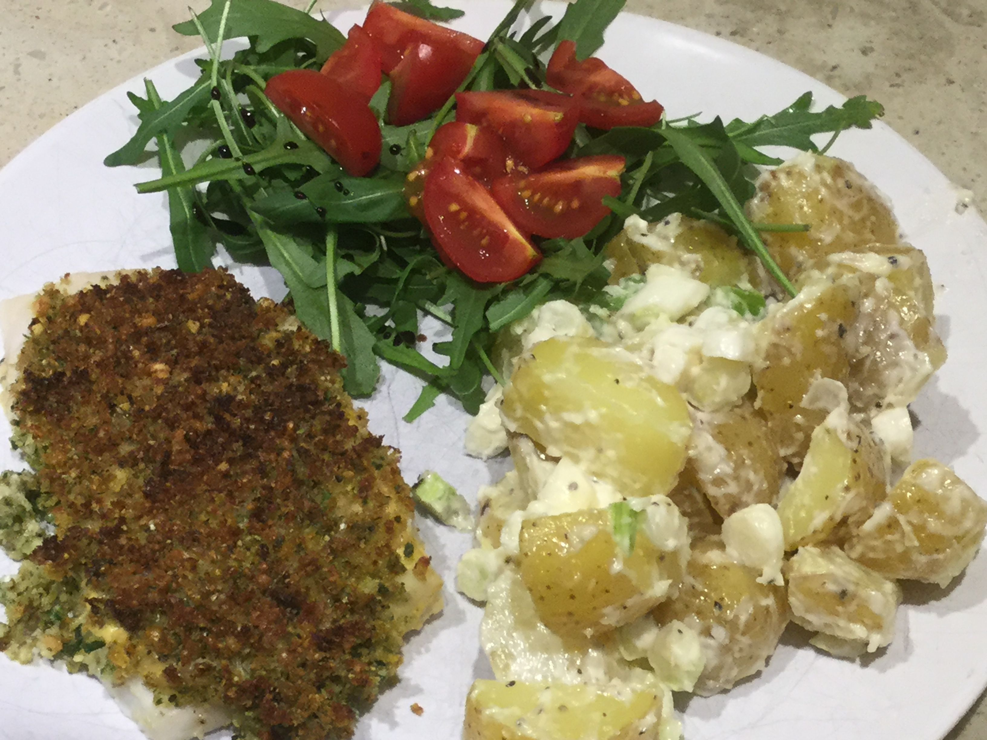 It's nearing the end of my food shopping week, so I wants to have a bit of a use up. I have some Aldi Hake Fillets in the freezer, salad to use up and salad potatoes too. I start by making a …