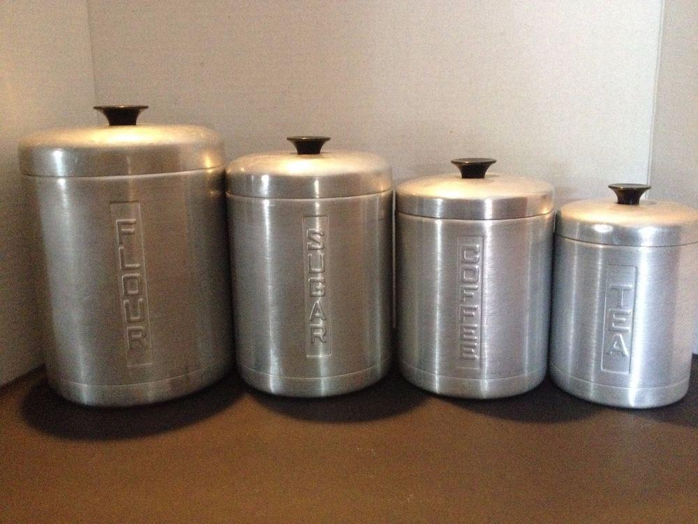 Vintage Mid Century Aluminum Nesting Metal Canister Set Flour Sugar Coffee Tea Metal Canisters Canister Sets Coffee Tea