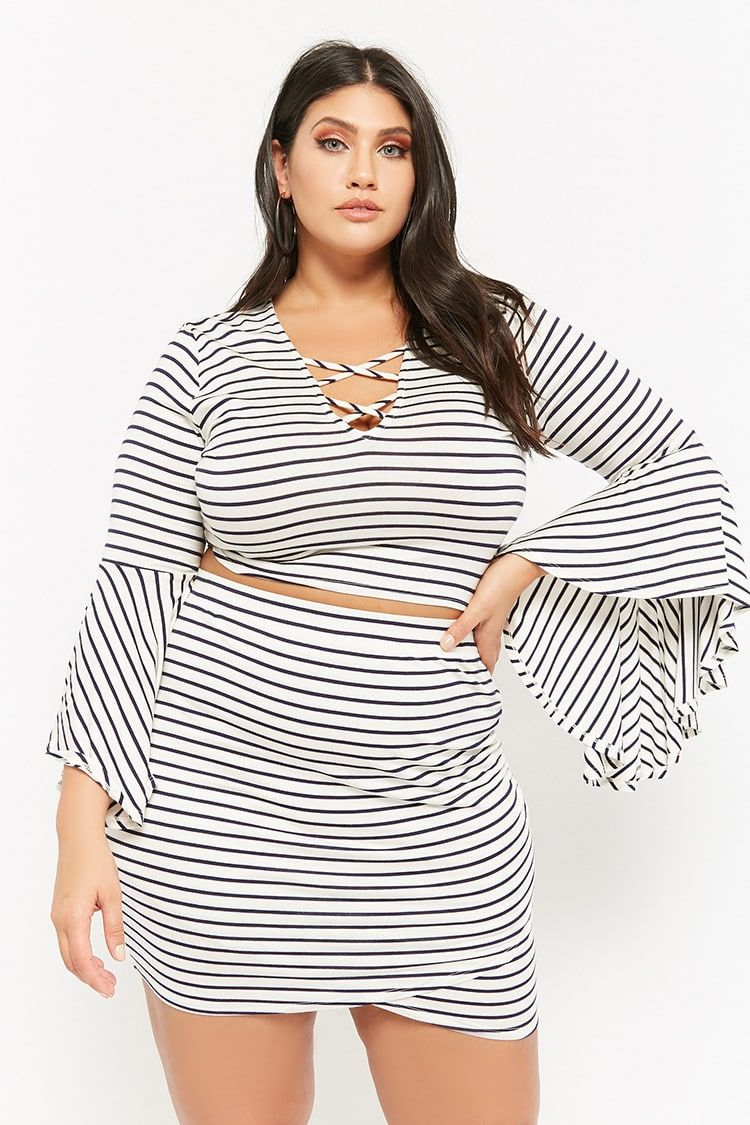 e49c02364d3 Product Name Plus Size Striped Bell-Sleeve Crop Top