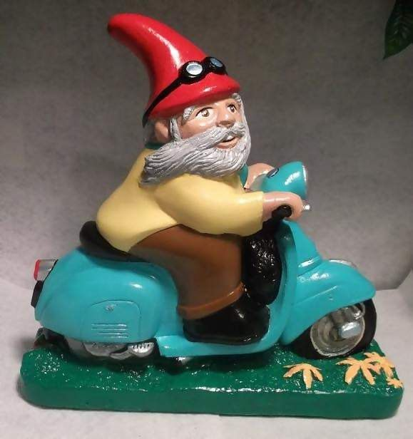 Georgio The Messenger Scooter Gnome On A Vintage Scooter! Shut Up!