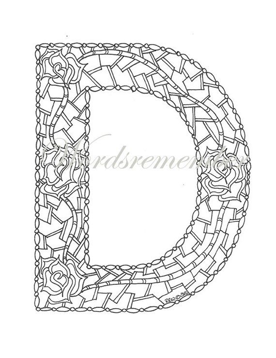 Adult Coloring Pages Letter D Coloring Page Alphabet Coloring