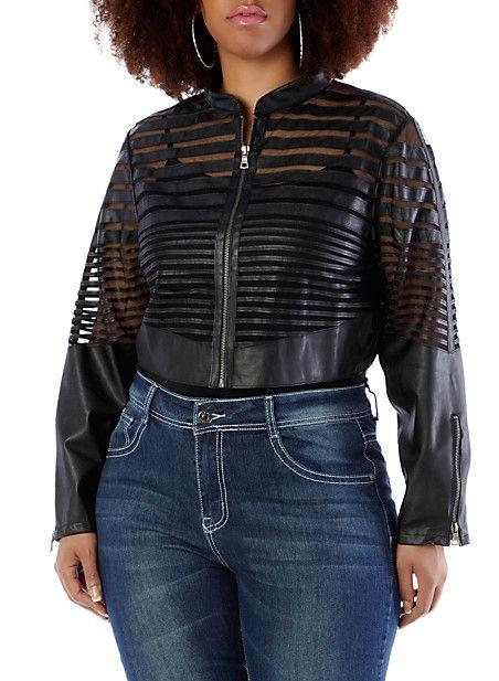 Plus-Size Mesh and Leather-Look Bolero Jacket
