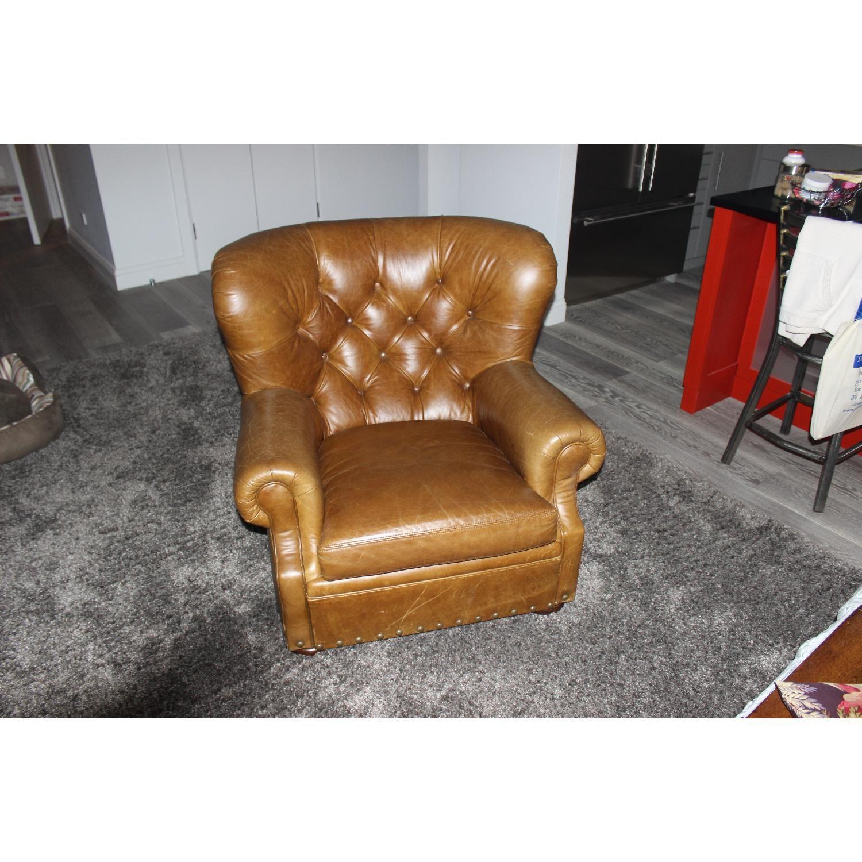 Ralph Lauren Vintage Leather Writeru0027s Chair + Ottoman