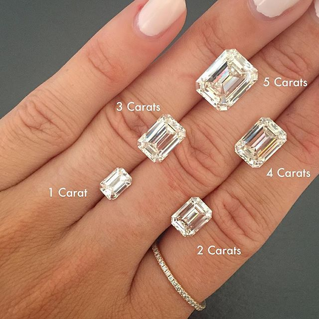 Emerald cut more cushion engagement rings also best diamond size charts images sizes rh pinterest