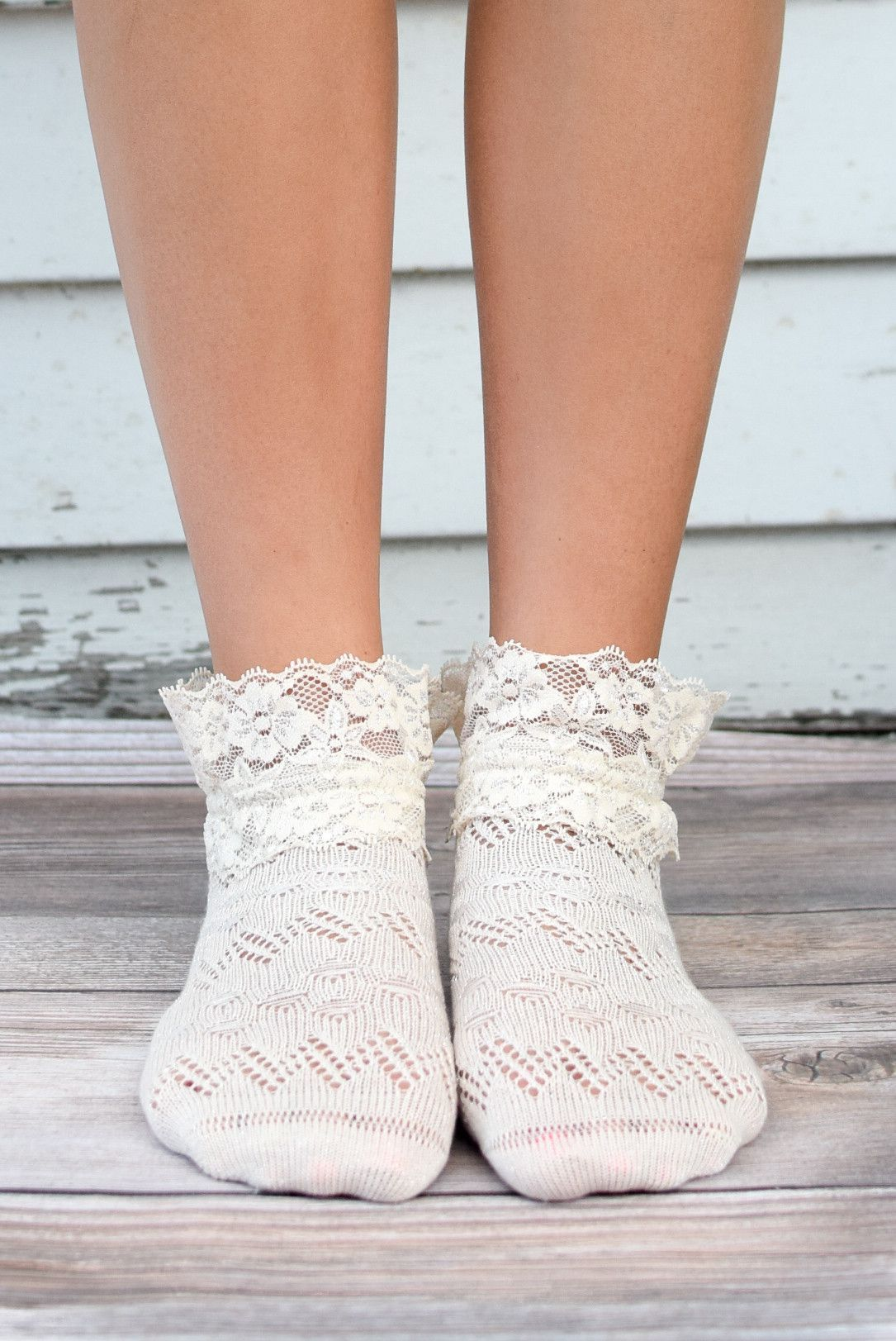 a3a4fb11d38f3 Ivory Lace Ankle Socks