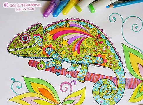 Groovy Animals Coloring Pages Chameleons