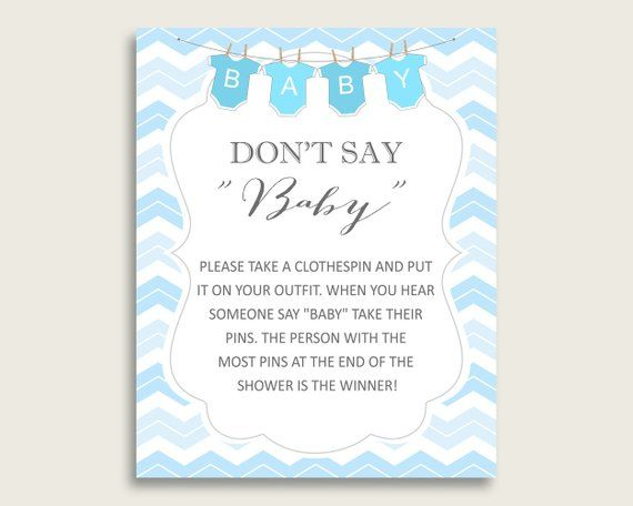 image relating to Don T Say Baby Game Printable titled Blue White Dont Say Youngster Printable Activity, Boy Boy or girl Shower
