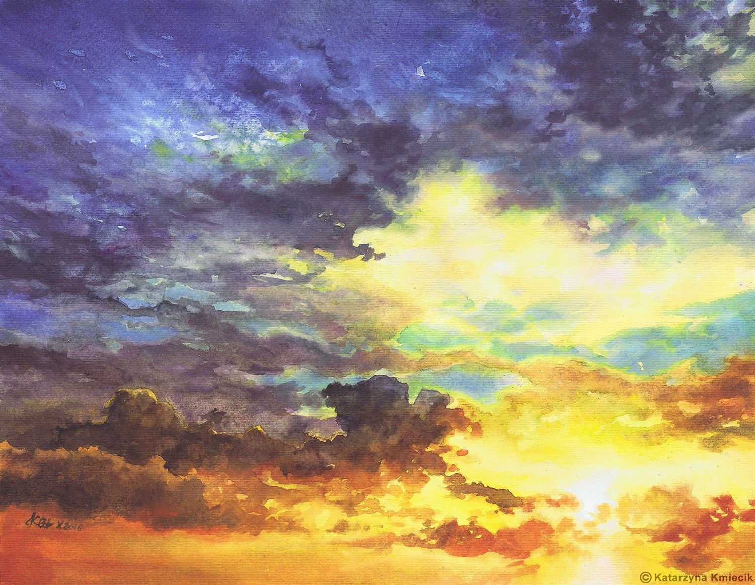 Watercolor Painting Of The Orange Blue Sunset Sky Sky No 4 By