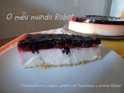Bimby - Cheesecake com cuajada, gelatina de framboesa  http://omeumundorobot.blogspot.pt/2012/08/bimby-cheesecake-com-cuajada-gelatina.html