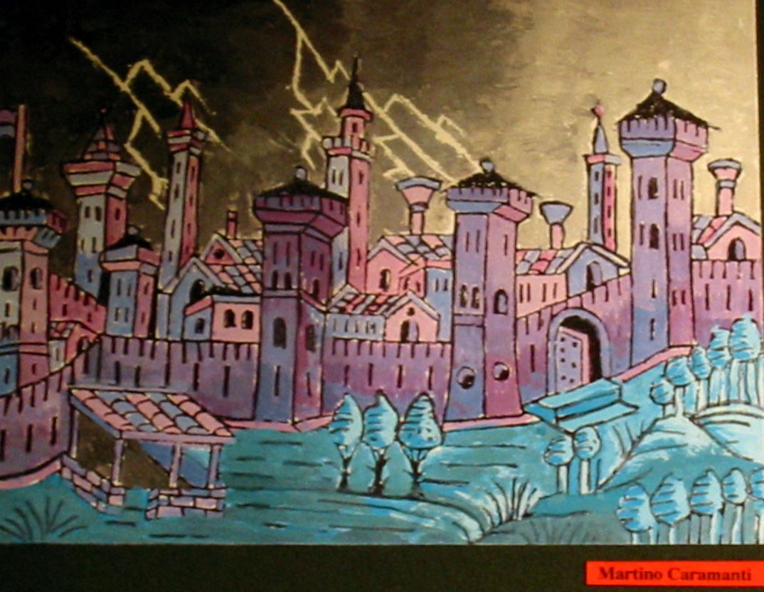 An impression of Treviso, Italy by Martino Caramanti, a student of Prof. Fabio Sandrini at L. Coletti Middle School in Treviso, one of 95 communities in the Sister City twinning with Sarasota and Treviso Province in Italy. The art was displayed at the Hands of Heritage Fest at Robarts Arena in Sarasota in 2003