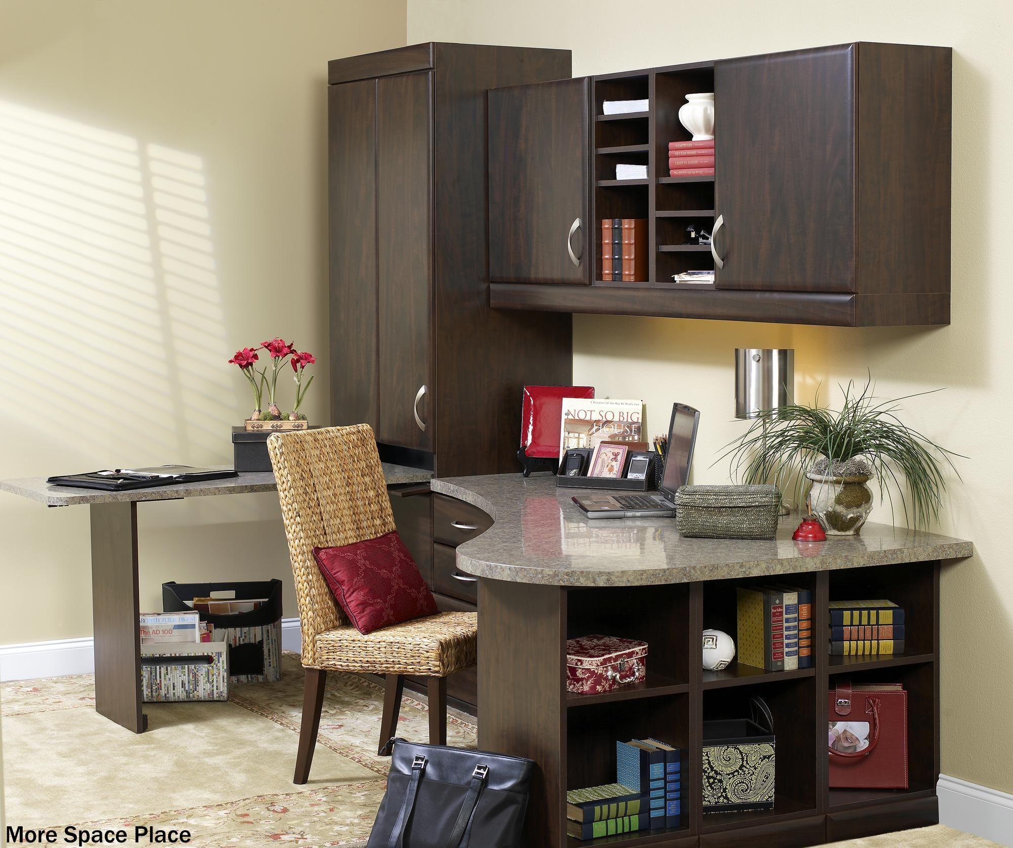 terrific corner home office with plenty of cabinets and open shelves rh ar pinterest com