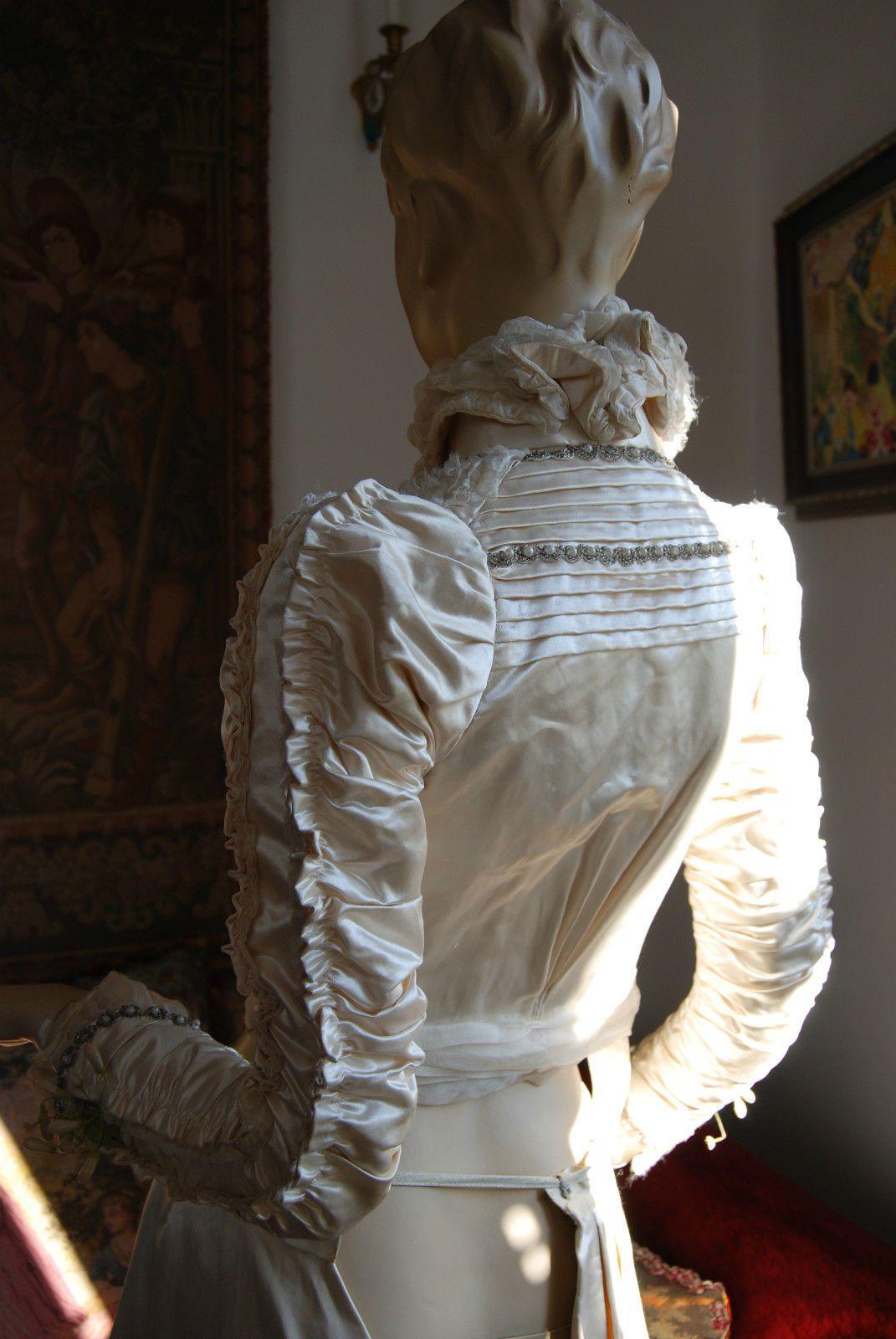 Antique handmade silk satin wedding gown dress with tiara detail