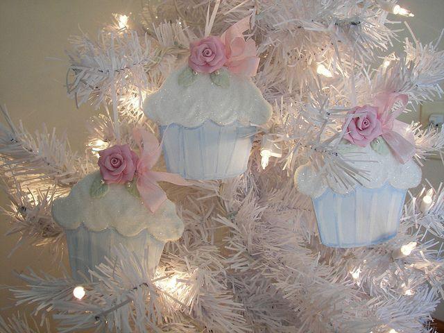 Pink Rose Cupcake Christmas Ornaments by Rose Brook Cottage, via Flickr