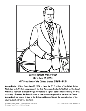 George h w bush worksheets and coloring pages for Bush coloring page