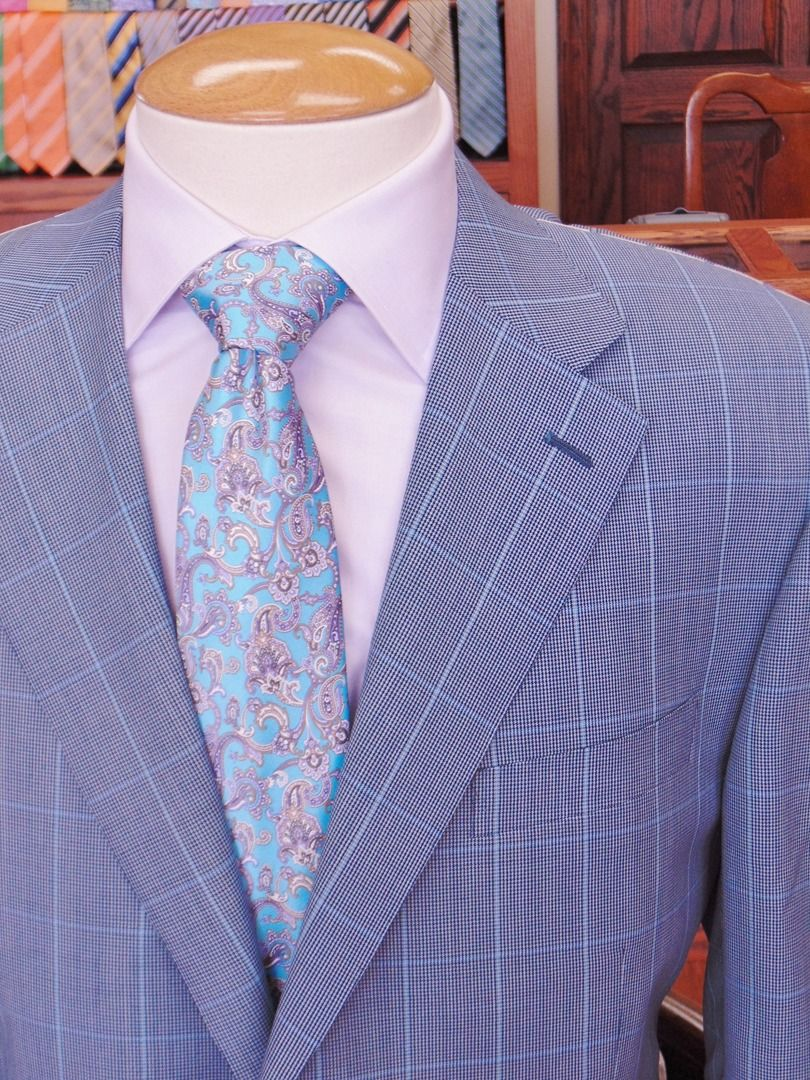 Canali blue mini hounds tooth and windowpane sport coat. | Sport ...