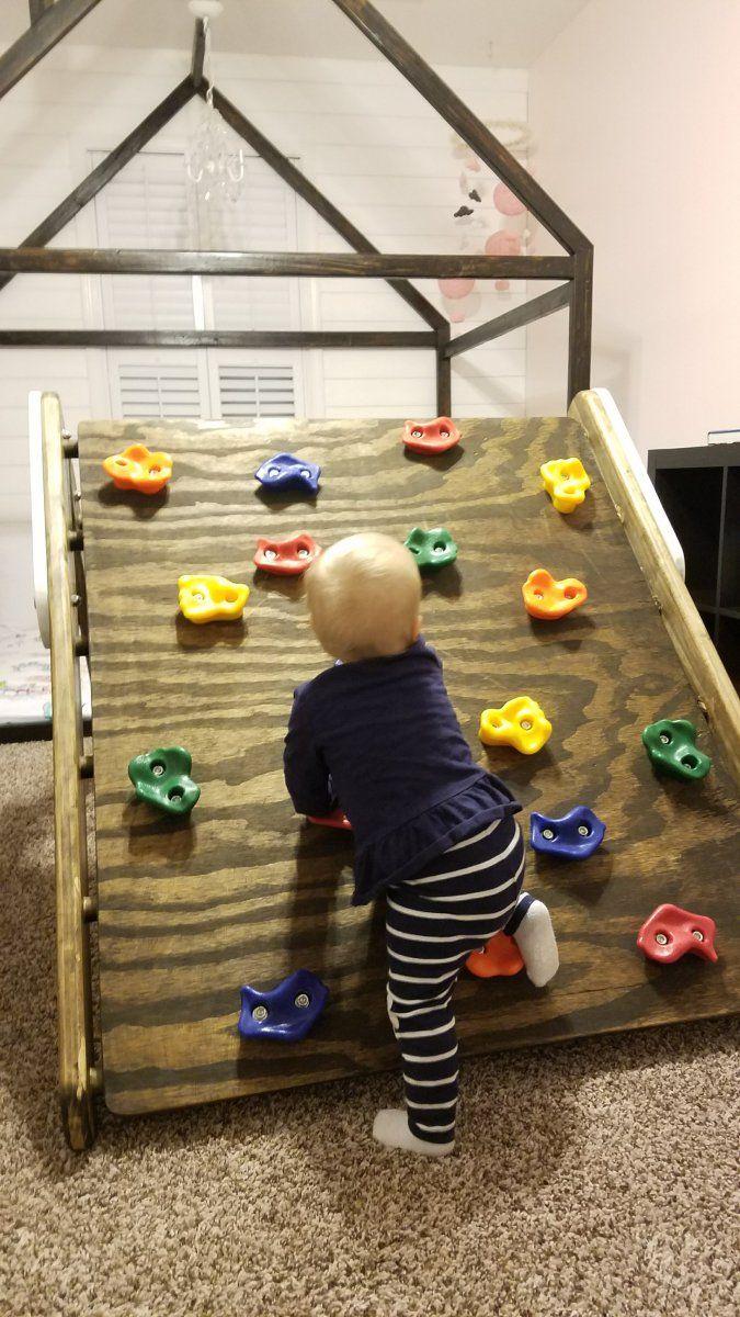 diy pikler triangle toddler rock climbing wall diy kids rock climbing climbing wall kids. Black Bedroom Furniture Sets. Home Design Ideas