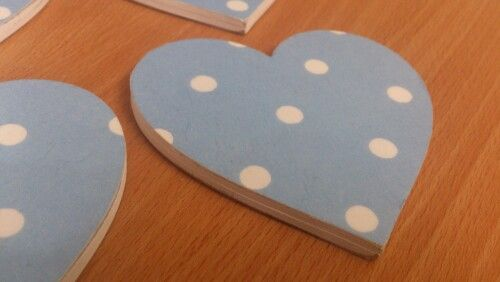 Blue spots heart coasters