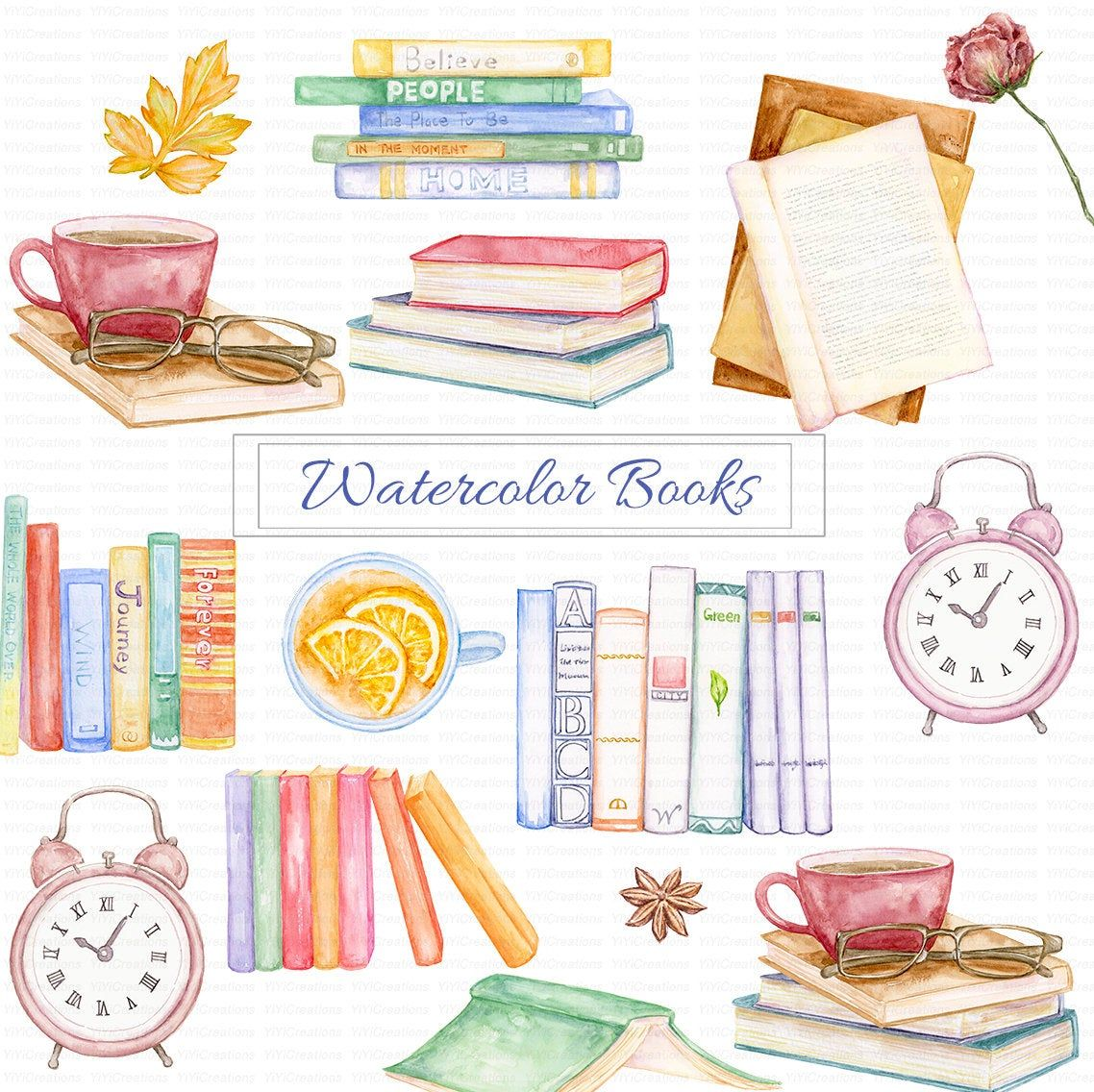 Watercolor Book Clipart, Vintage illustrations, Old Style ... (1138 x 1136 Pixel)
