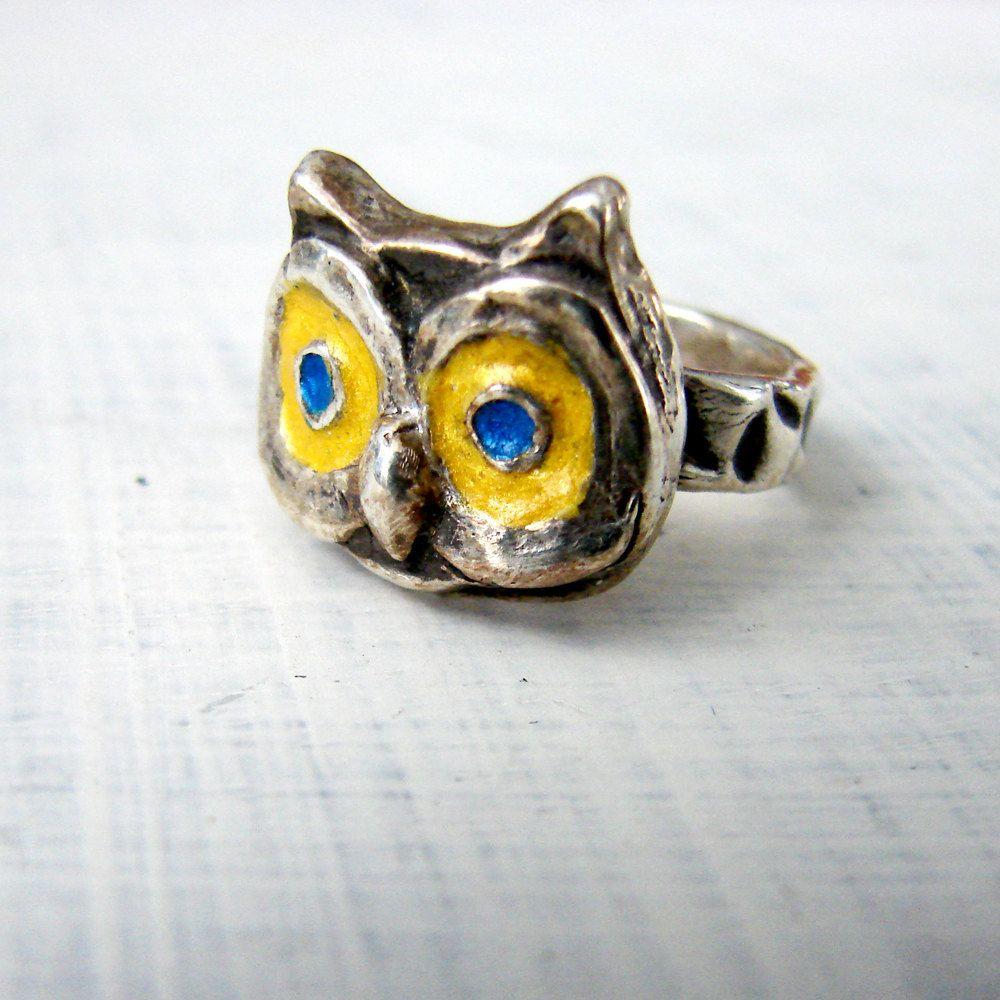 Owl Ring. Unisex Silver Ring. Woodland Ring. Custom Engravable Ring.. $175.00, via OneLoomStudio on Etsy.