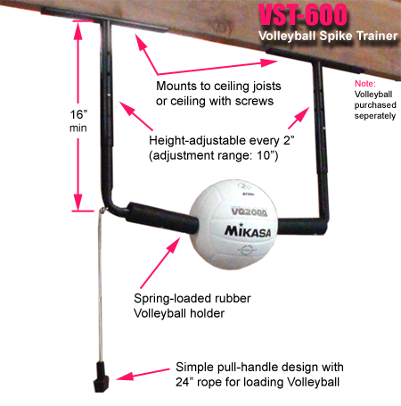 Ceiling Mount With Your Own Ball Volleyball Training Volleyball Inspiration Volleyball Spike Trainer