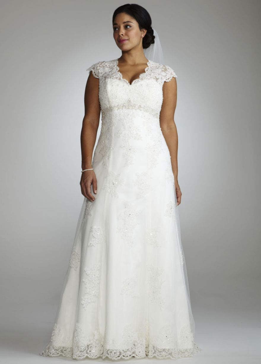 Halter top wedding dresses plus size  Cap Sleeve Lace Over Satin Gown with Illusion Back  Davidus Bridal